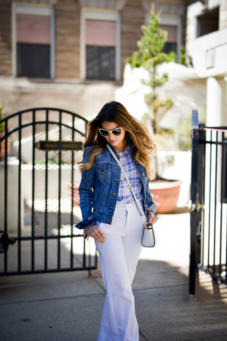Spring Outfit Idea, Equipment Riley Tee, 7 for all mankind high waist trousers, Gap Denim Jacket, Chanel Sunglasses, Michael Kors Selma Crossbody Bag
