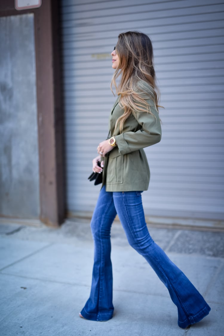 Topshop Belted Utility Jacket & 7 For all Mankind Flare Jeans