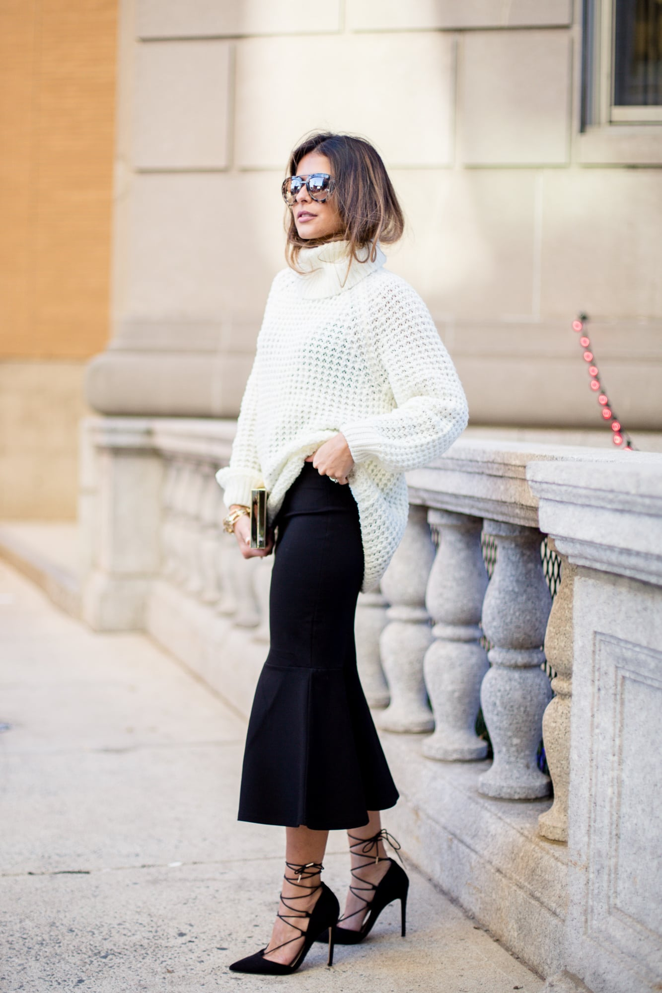 Fall Fashion- Fit and Flare skirt, turtleneck sweater, lace up pointed toe pumps, Pam Hetlinger | The Girl From Panama