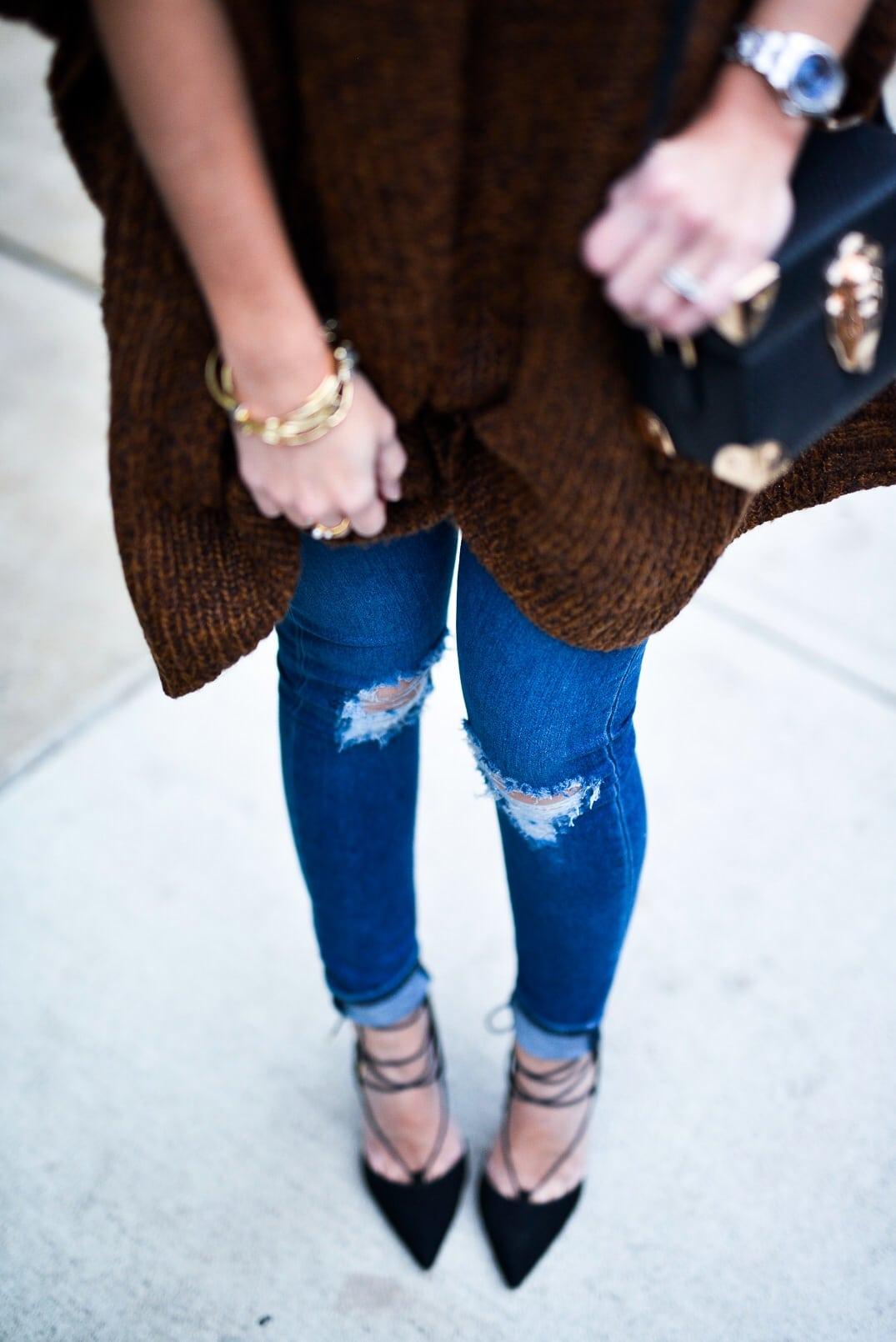 Pam Hetlinger wearing Asos Poncho, Asos Jeans, Lace-up heels