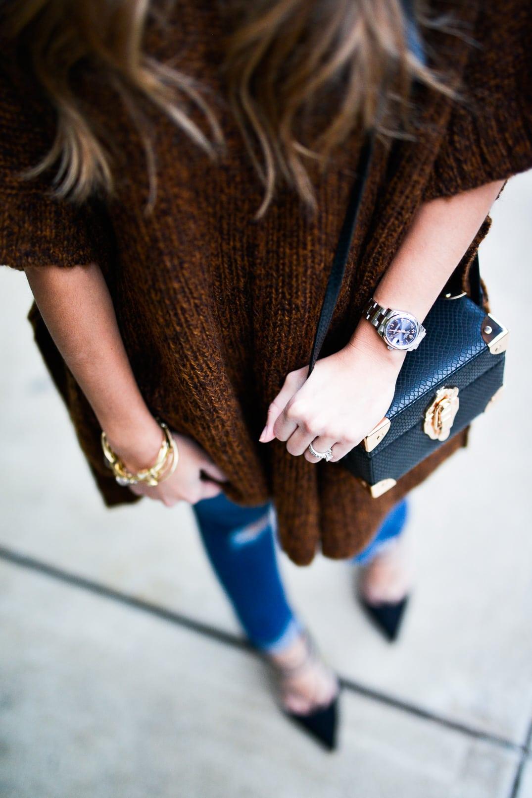 Pam Hetlinger wearing Asos Poncho, Asos Jeans, Asos Lace-up heels, Reiss bucket bag