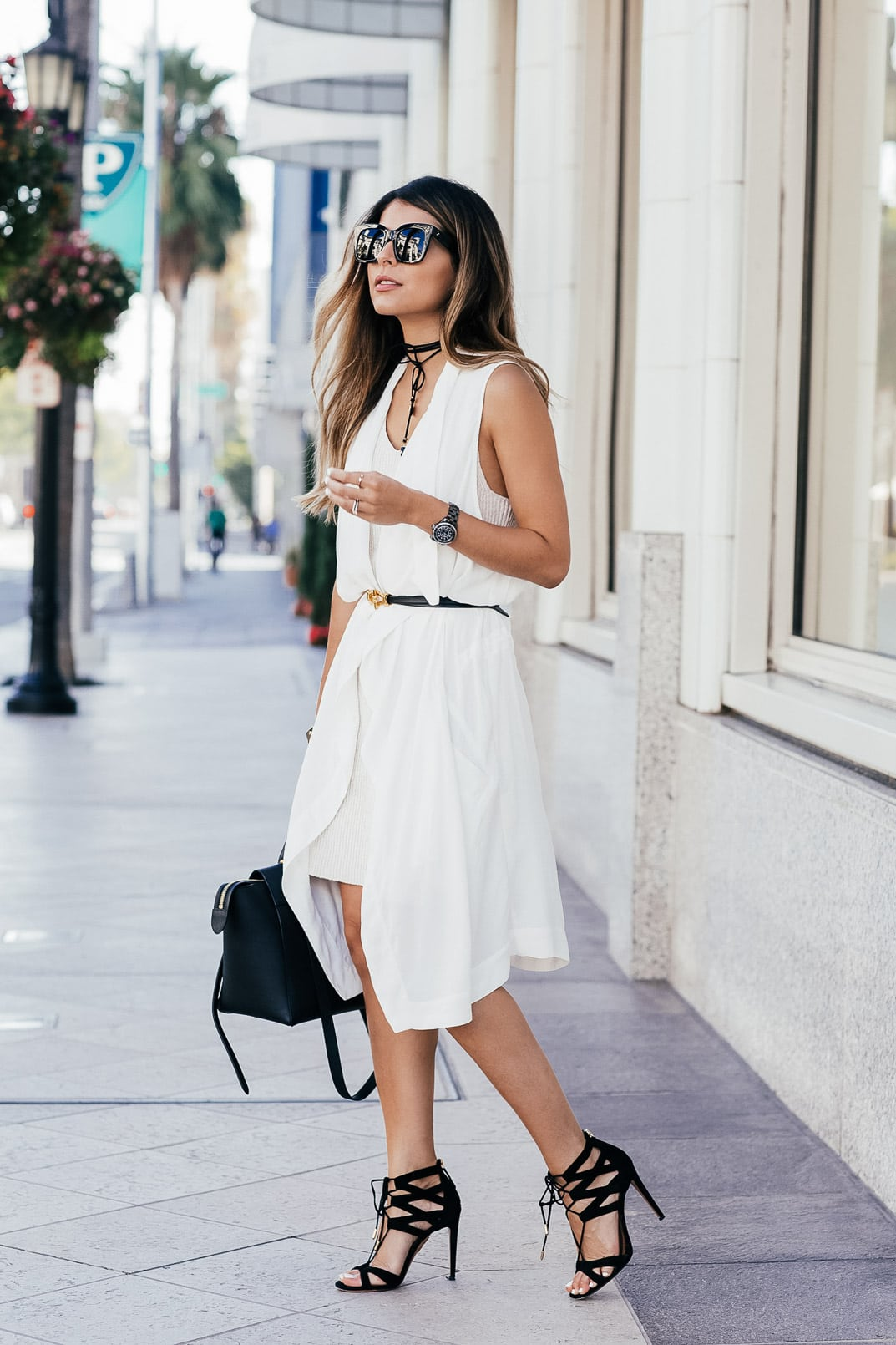 White on White Look- White Sweater Dress, White Vest, Aquazzura Beverly Hills Sandals, Celine Belt Bag   The Girl From Panama @pamhetlinger