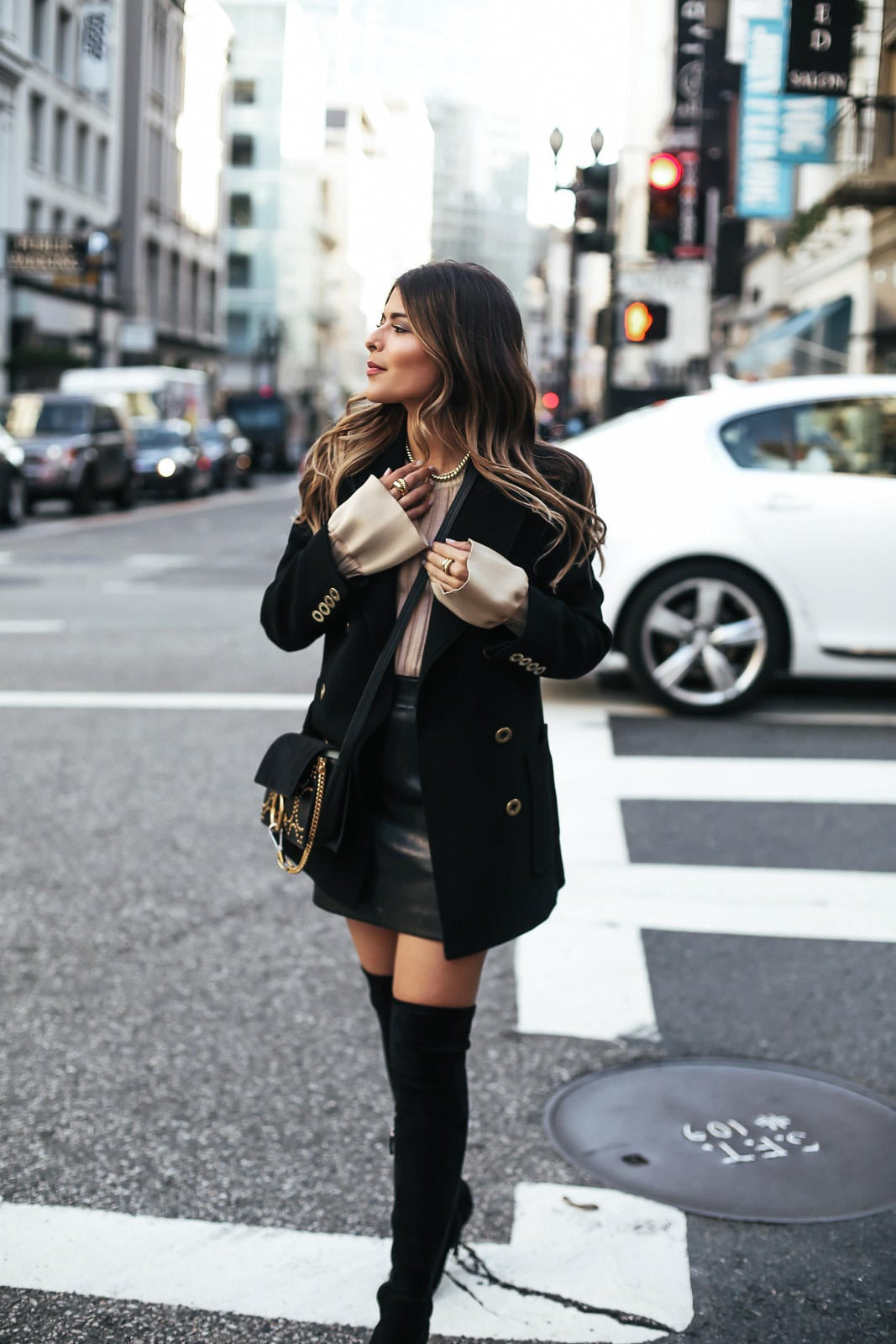 Fall Fashion, Chloe Jacket, Helmut Lang Skirt, Over-the-knee boots, Celine sweater with bell sleeves, Chloe bag, David Yurman Jewelry | The Girl From Panama
