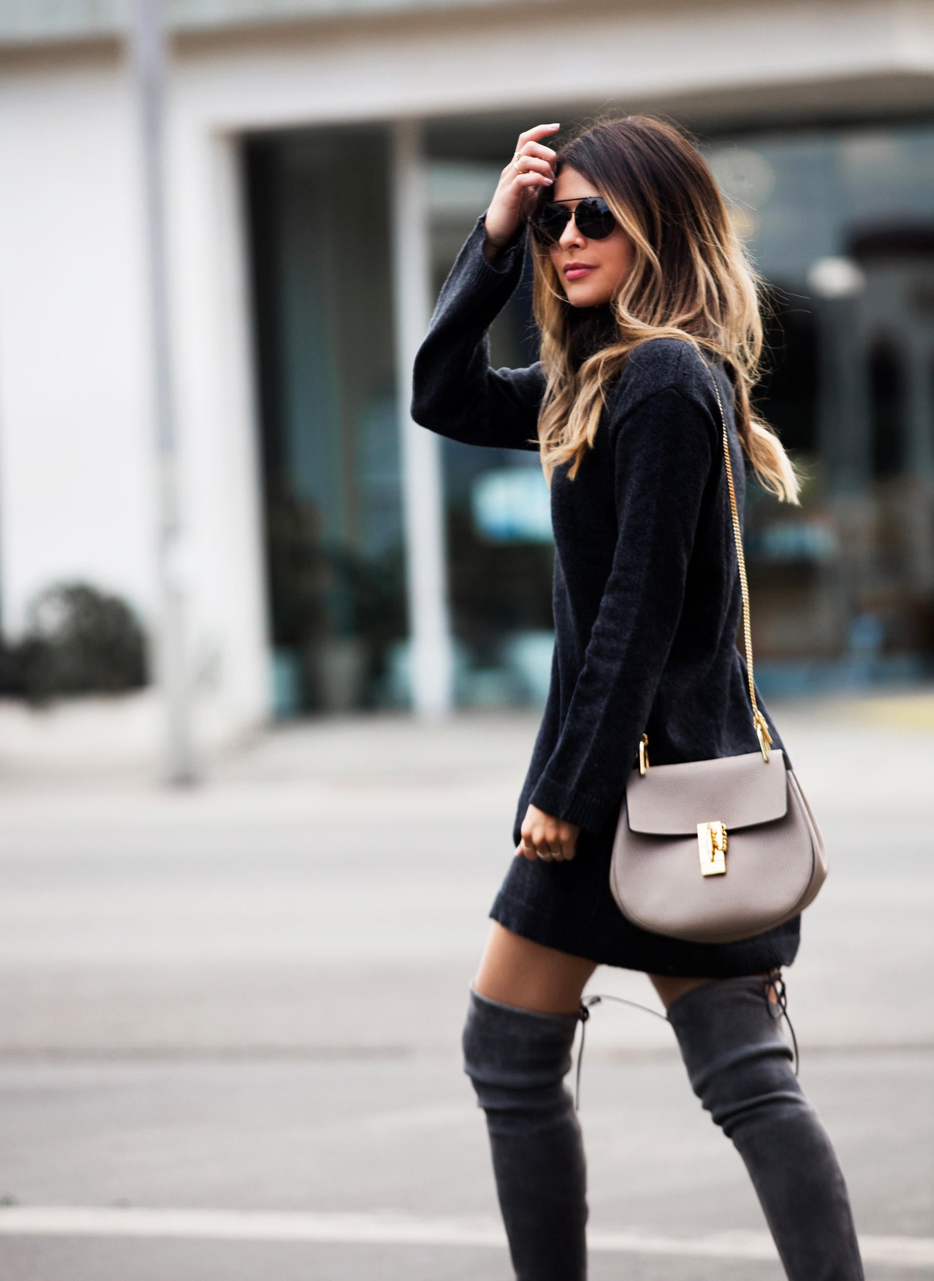 Thanksgiving outfit idea, sweater dress, over-the-knee boots | The Girl From Panama