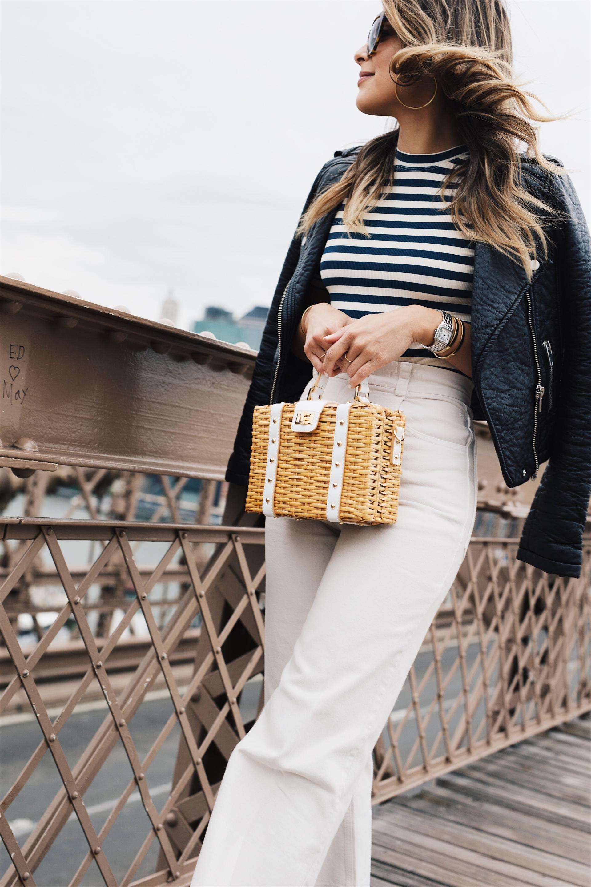 How to Style Denim in June // White Jeans, Striped Top, Basket Bag, Leather Jacket, Black Mules // The Girl From Panama
