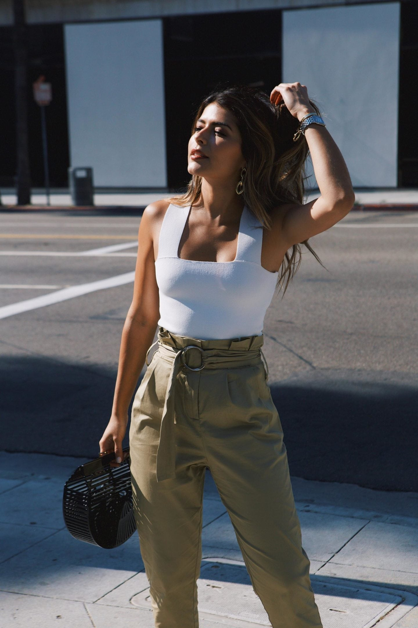 High Waisted Pants, ALC Crop Top, Cult gaia basket bag, gold earrings // The Girl From Panama