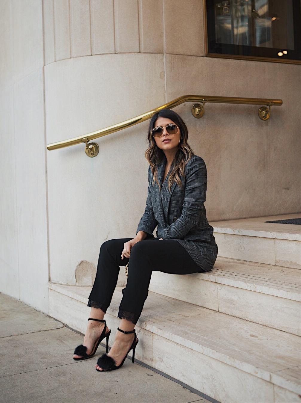 Pam Hetlinger wearing a zara blazer and black pants