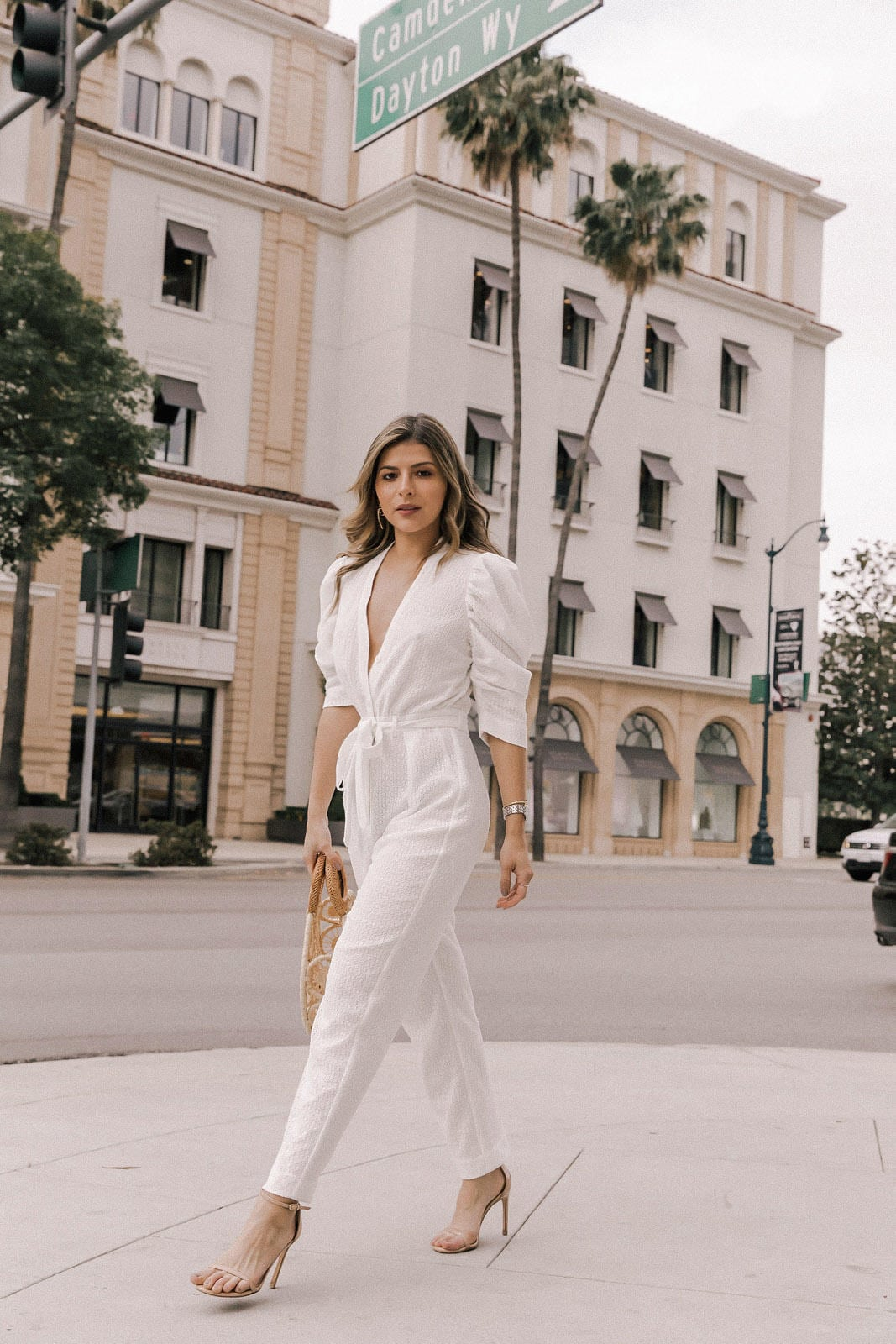 cult gaia bag, white wrap jumpsuit, stuart weitzman heels, eyelet outfit, jenny bird earrings, white jumpsuit, how to wear a jumpsuit, petite fashion | TheGirlFromPanama.com