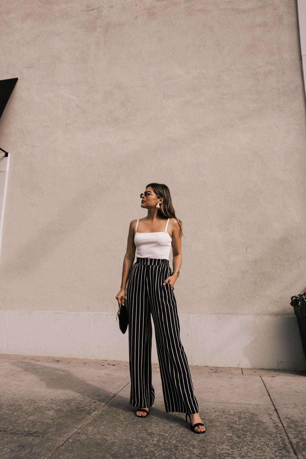 4 Kinds of Pants All Petite Girls Need by Pam Hetlinger | TheGirlFromPanama.com | River Island outfit, wide leg pants, summer outfit, white bodysuit, river island stripe pants, river island bodysuit