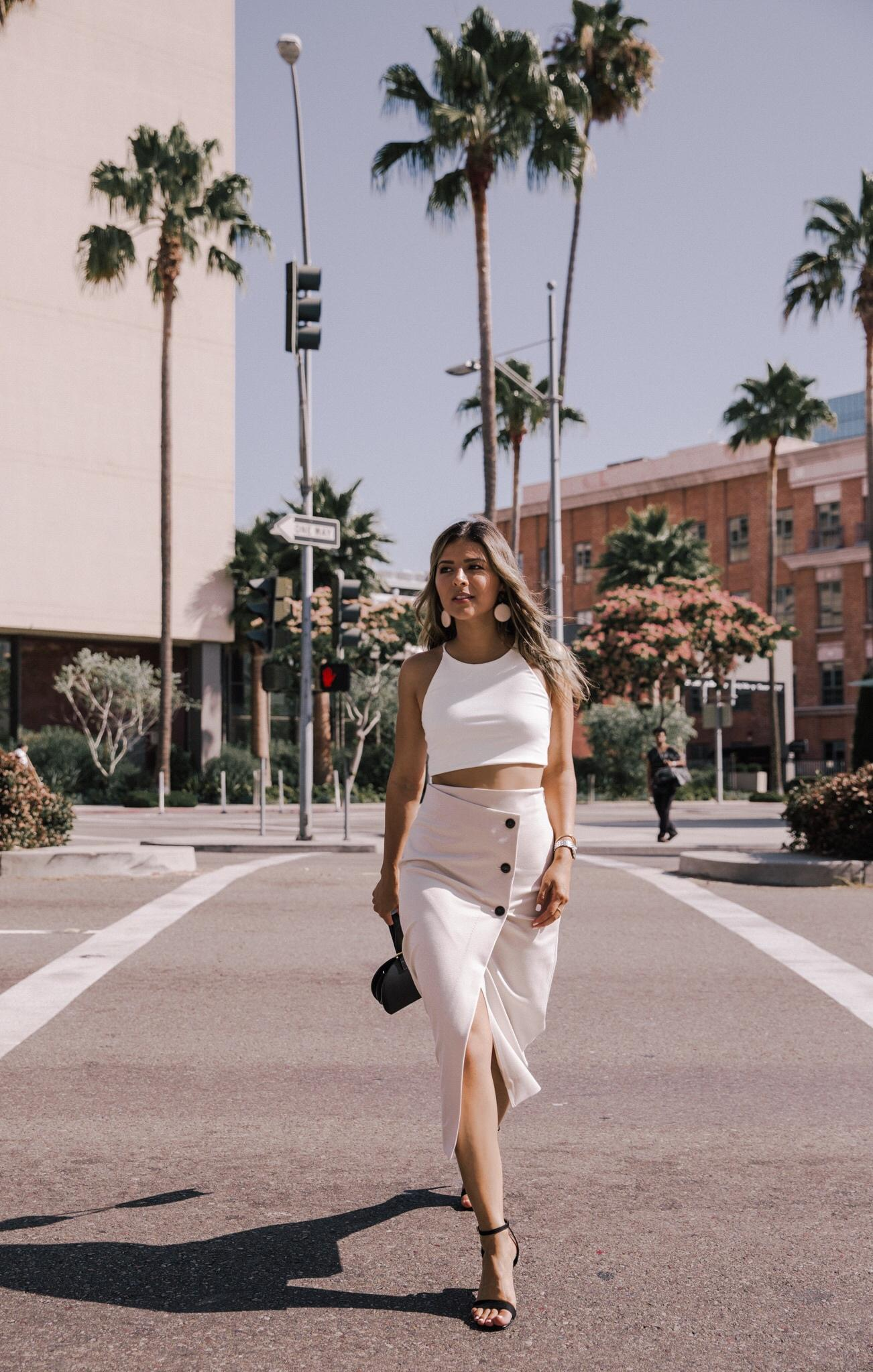 What to Wear When It's Super Hot Outside by Pam Hetlinger | TheGirlFromPanama.com | Button Midi Skirt, Slit Midi Skirt, Summer Outfit, Crop Top, Bracelet Bag, LA Fashion Blogger