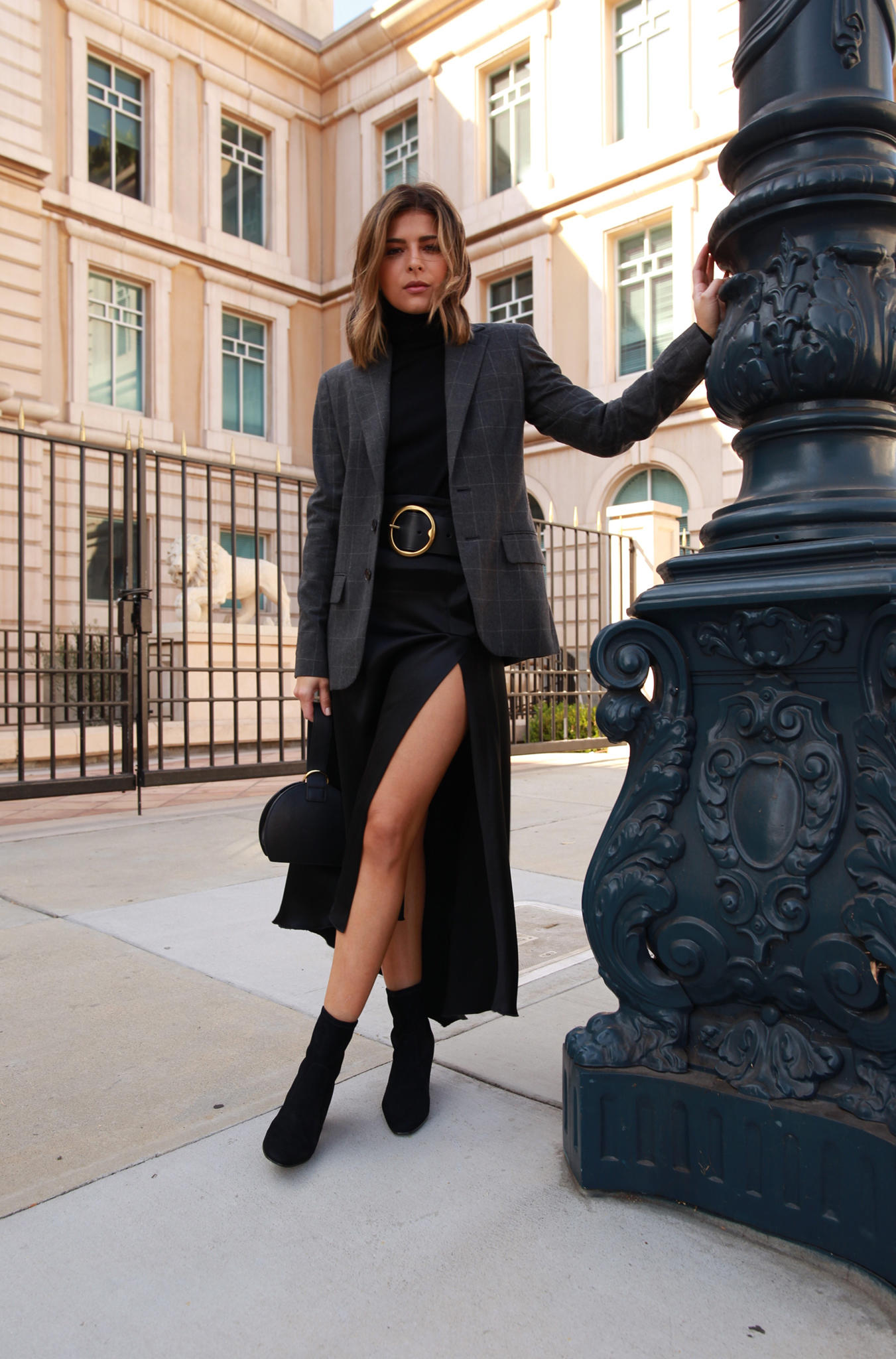 Chic Workwear Pieces You need for Fall by Pam Hetlinger | TheGirlFromPanama.com | Plaid Blazer, Turtleneck Sweater, Classic American Style, Ralph Laurent office wear, Black Sock booties, slit midi skirt