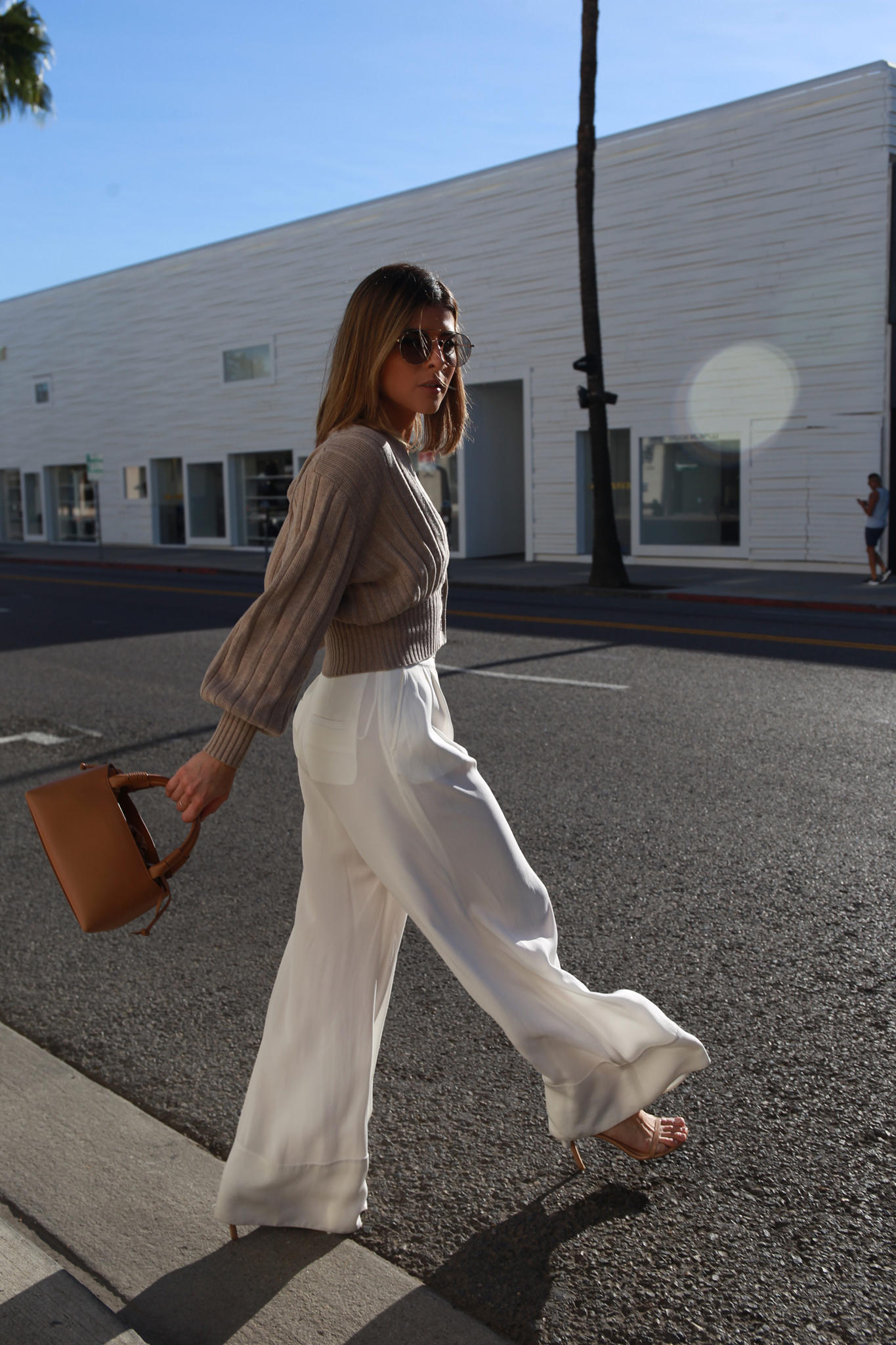The Fall Outfit to Wear for Work and Play by Pam Hetlinger | TheGirlFromPanama.com | Chic fall look, fall outfit ideas for work, classy fall outfit, wide leg pants, ribbed cardigan, oversized cardigan, carolina santo domingo bag, cartier watch
