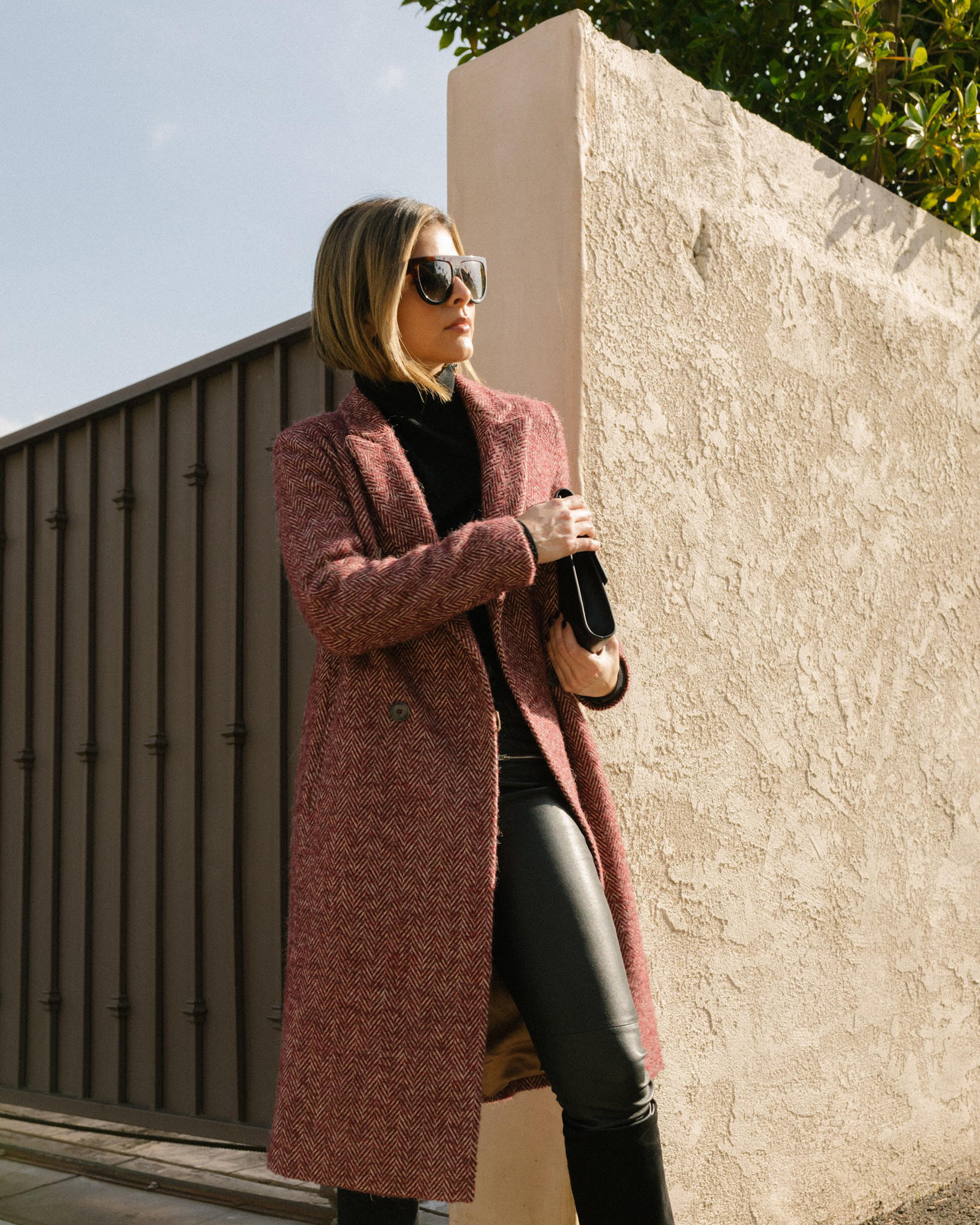 Coats to Get You Through Winter by Pam hetlinger | TheGirlFromPanama.com | Red Tweed Coat, chic winter outfit, winter layers, celine sunglasses