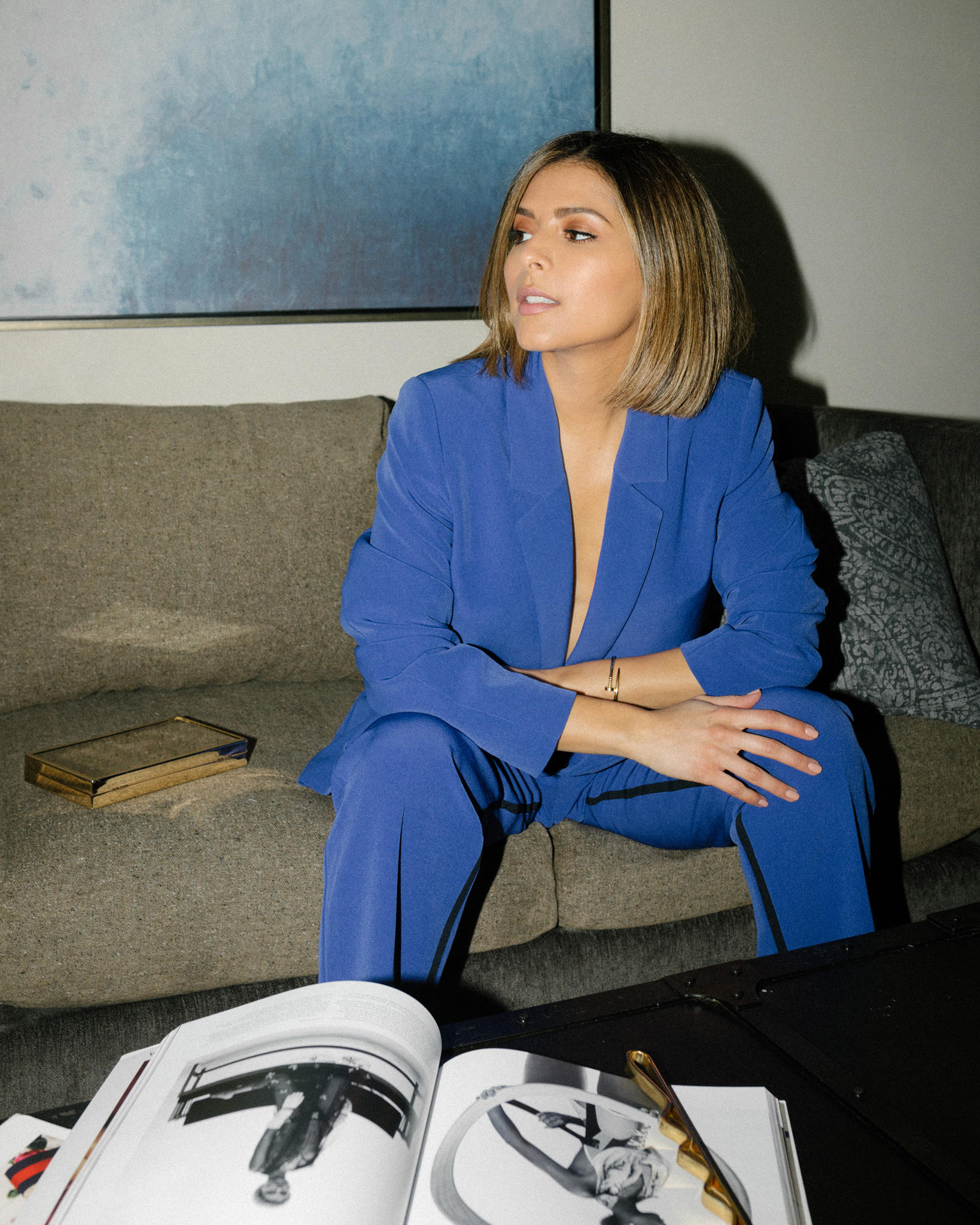 Pam Hetlinger wears blue power suit with ysl strappy sandals, chic blogger outfit, spring's trending colors | TheGirlFromPanama.com