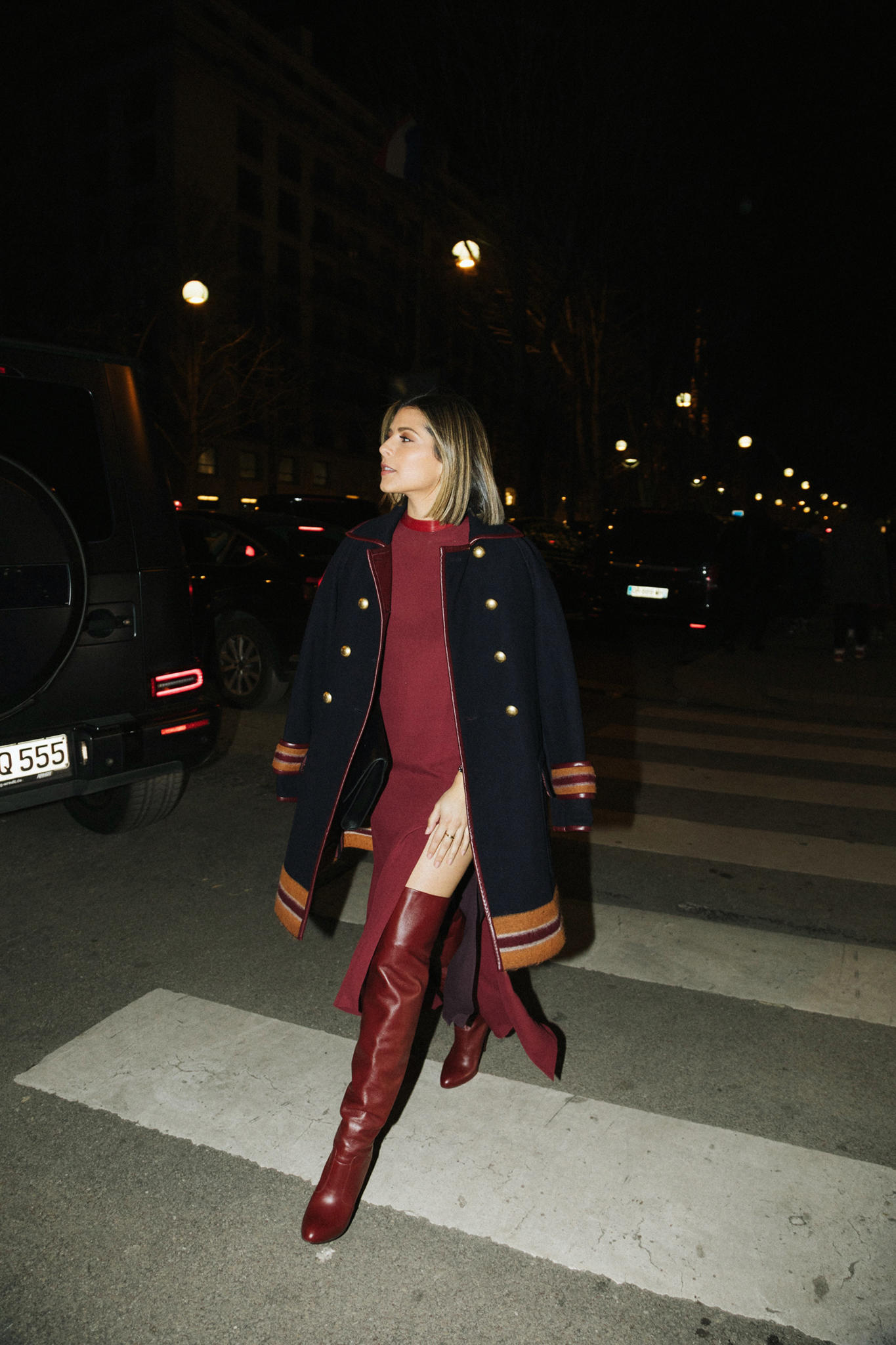 Paris Fashion Week FW19 Recap by Pam Hetlinger | TheGirlFromPanama.com | paris fashion week street style, fashion week spring 2019 street style, monochromatic burgundy outfit, military jacket trend