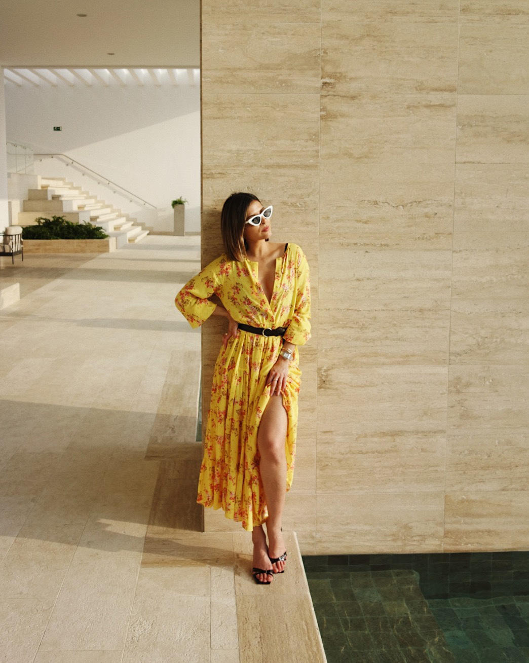 pam hetlinger wearing yellow dress, yellow zara dress, by far heels | the girl from panama